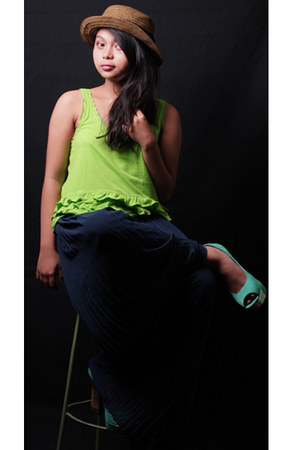 neon tank top Aeropostle top - maxi pants pants - Primadonna pumps