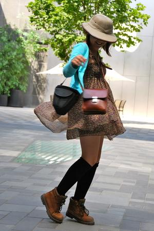 black over the knee diy market socks - brown fake Timberland shoes
