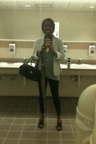 Ralp Lauren blazer - silver cardigan - Wet Seal shirt - black Walmart leggings -