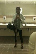 Ralp Lauren blazer - silver cardigan - Wet Seal shirt - black Walmart leggings -