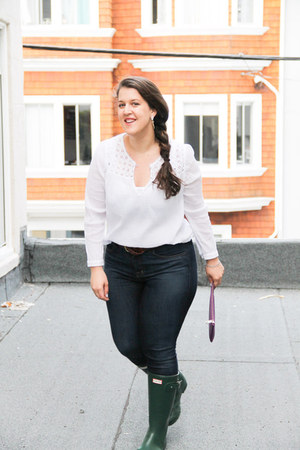 Jcrew blouse - Hunter boots - JBrand jeans