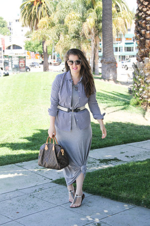 JCrew shirt - Gap dress - Prada sunglasses