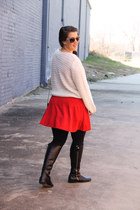 asos sweater - Jcrew boots - Zara dress - Chanel bag