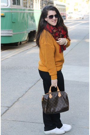 H&M sweater - ann taylor jeans - Louis Vuitton bag
