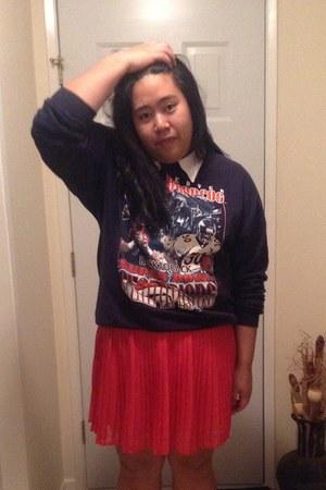 salmon pleated skirt Gap skirt - white Nevada shirt - navy thrifted sweatshirt