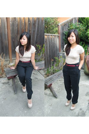 unknown brand belt - Forever 21ver shoes - Forever 21 pants - poof top