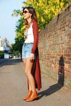Topshop boots - Zara belt - H&M cardigan - thrifted vintage necklace