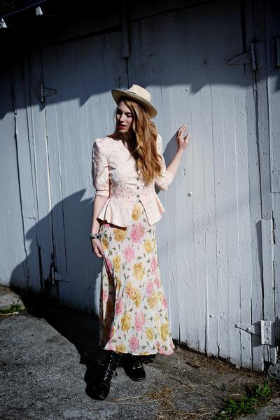 peplum Jacket blazer - western vintage boots - slip Betsy Johnson dress