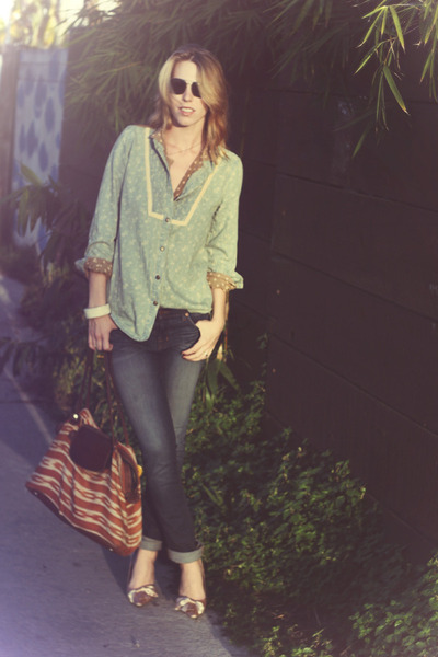 polka dot vintage shirt - chambray free people shirt