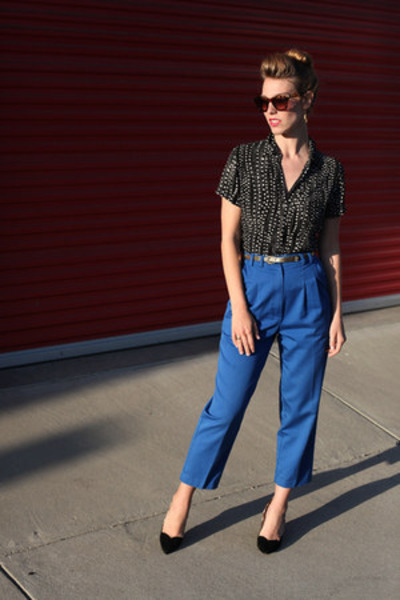 blue thrifted pants - black dotted NY&CO blouse