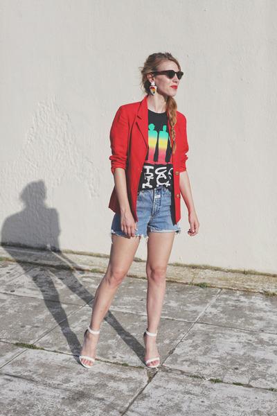 white strappy heels Charlotte Russe heels - red Vintage Thrifted blazer