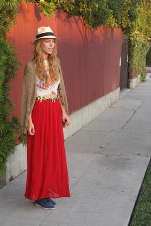 red pleated skirt Forever 21 skirt - white panama hat JCrew hat