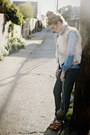 Silver-western-metal-vintage-purse-navy-skinny-jeans-helmut-lang-jeans