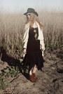 Brown-sam-edelman-boots-black-20s-drop-waist-vintage-dress