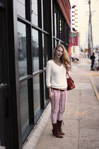 brick red striped free people jeans - brown born boots - ivory knit joes sweater