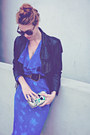 Black-vintage-jacket-blue-secretary-sheer-vintage-dress