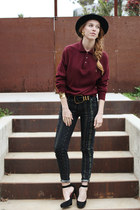wide brimmed vintage hat - tribal print TJ Maxx jeans - vintage dior sweater