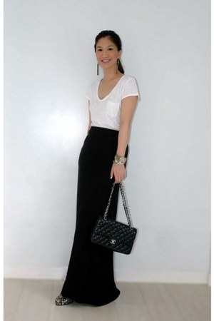 Charles and Keith shoes - white H&M shirt - black Chanel bag