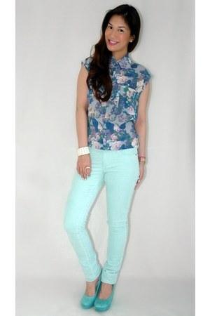 aquamarine Forever 21 jeans - aquamarine Forever 21 wedges