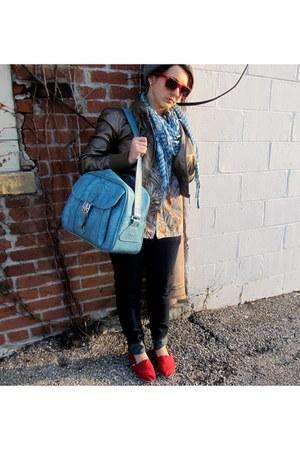 sky blue vintage American Luggage bag - navy Forever 21 jeans