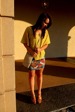 beige thrifted vintage purse - ruby red Nollie skirt - mustard Forever 21 blouse