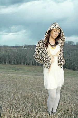 fuzzy Forever21 jacket - Express boots - Charlotte Russe dress