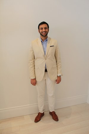 beige cotton Mexx blazer - light brown leather Cole Haan shoes
