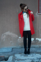 red Alexander McQueen coat - black Pull&ampBear boots - black H&ampM jeans