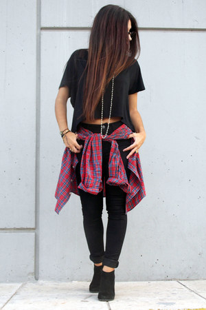 black Stradivarius jeans - black Zara top