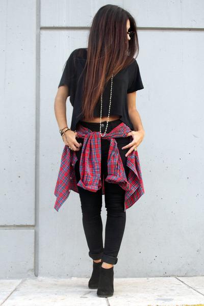 black Stradivarius jeans - black Zara top
