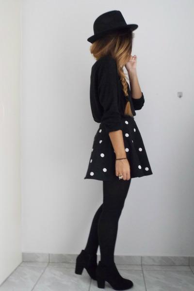 black pull&bear boots - black Zara hat - black H&M sweater - black H&M skirt