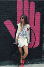 White-bershka-jacket-white-zara-skirt-hot-pink-nike-sneakers