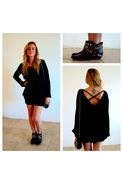 black open back Forever 21 blouse - black studded ankle Forever 21 boots