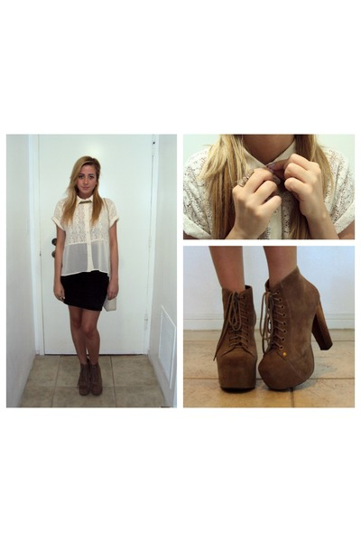 cream button down Forever 21 blouse - tan lita Jeffrey Campbell boots