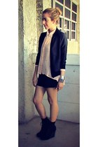 black bomber American Apparel jacket - peach studded Forever 21 blouse