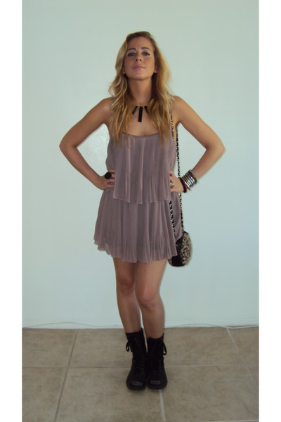 light pink Forever 21 dress - black combat Nine West boots