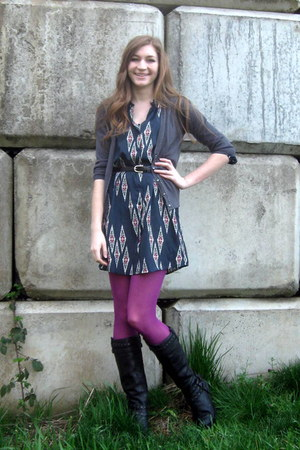black born boots - navy Tucker for Target dress - magenta Target tights - gray O