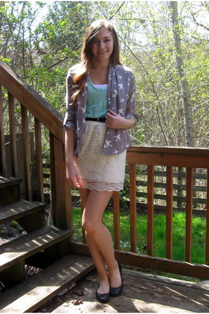 gray Forever 21 top - white lace Target skirt