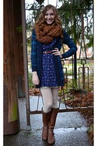 blue Forever 21 dress - navy chevron missoni for target cardigan