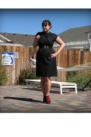 black vintage dress - black Forever 21 belt - red Target socks - black Target sh