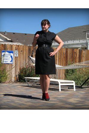 black vintage dress - black Forever 21 belt - red Target socks - black Target sh