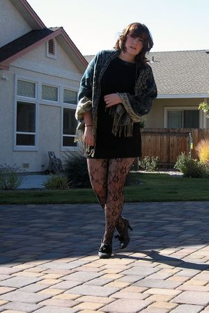 black kohls dress - black unknown tights - blue Prague scarf - gray Anne Marino