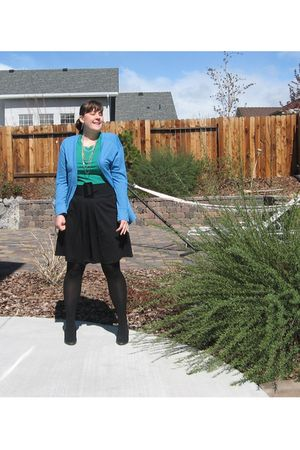 black gift skirt - black gift tights - blue Old Navy cardigan - green Old Navy s