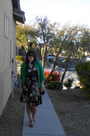 black thrifted dress - green Old Navy cardigan - black Steve Madden shoes - blac