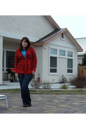 ruby red Macys sweater - sky blue banana republic skirt - blue Old Navy jeans -