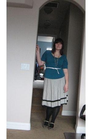 white thrifted skirt - blue New York and Company shirt - white Forever 21 belt -