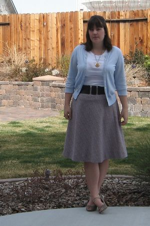 pink thrifted skirt - white Old Navy shirt - blue Old Navy cardigan - beige Targ