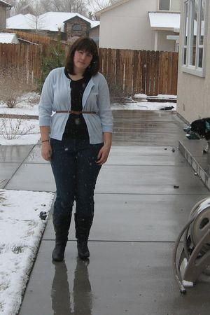 black Old Navy scarf - blue Old Navy cardigan - blue Gap jeans - black Target bo
