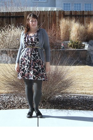 navy H&M dress - heather gray HUE tights - gold Charlotte Rouse belt - charcoal