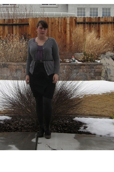 amethyst unknown shirt - gray HUE tights - heather gray Old Navy cardigan - blac